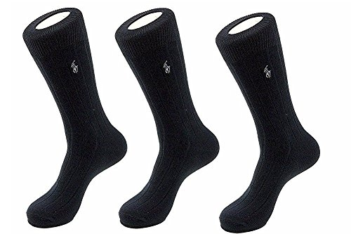 Polo Ralph Lauren Mens' Extended Size Ribbed Dress Socks 3-pack (One Size, Black)