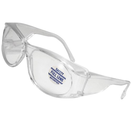 Mag-Safe Full Magnifying Reader Safety Glasses Reading Magnifier Eyewear Available from 1.25-3.00 Select Full Magnifier (3.00 Clear)