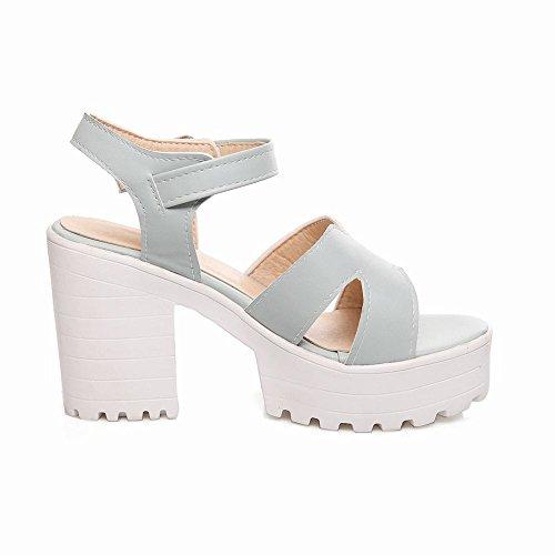 Platform Mee Sandals Shoes Heel Shoes Blue Block Buckle Fashion Women's YUwqHY1
