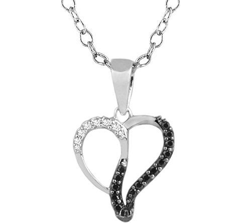 Or Blanc 9 ct Pendentifs Diamant en forme de Cœur, 0.1 Ct Diamant, GH-SI, 0.7 grammes.