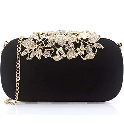 - Dexmay Luxury Women Clutch Bag with Rhinestone Crystal Flower Clasp Suede Evening Purse Black