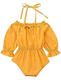 d8f4a6f0902 Newborn Baby Infant Girl Long Sleeve Ruffle Sleeve Solid Romper Bodysuit  Onesie Jumpsuit