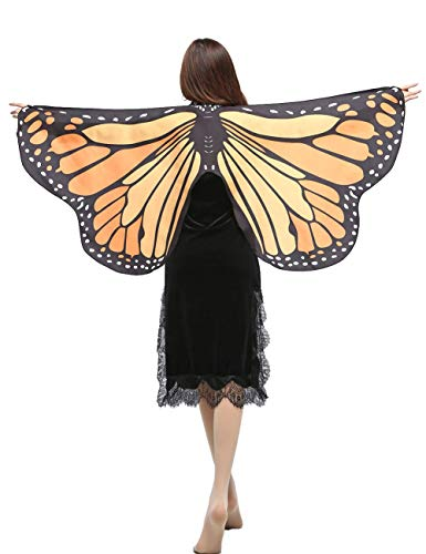GRACIN Halloween Butterfly Wings Shawl, Soft Fabric Fairy Pixie Monarch Costume Cape (58