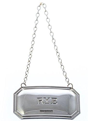 (RYE Cut Corner English Sterling Silver Decanter Label)