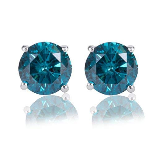 1/4 Ct. Blue Diamond Stud Earring Set in 14k White ()