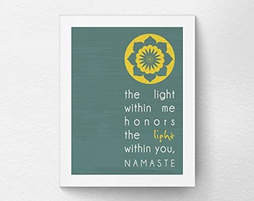Yoga Namaste Wall Art Print Poster Decor, Yoga Studio Decor, Inspirational Quote