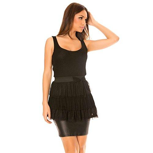 Miss Wear Line - Tunique noir à élastique à la taille et plissé sur le bas