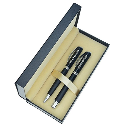 Ballpoint Pen Gift Set - Yoctosun Ballpoint and Rollerball Gift Pen Set with Black Ink-Smooth and Easy Writing for Men or Women in School, Office, Business & more(YS-BRPSS-C)