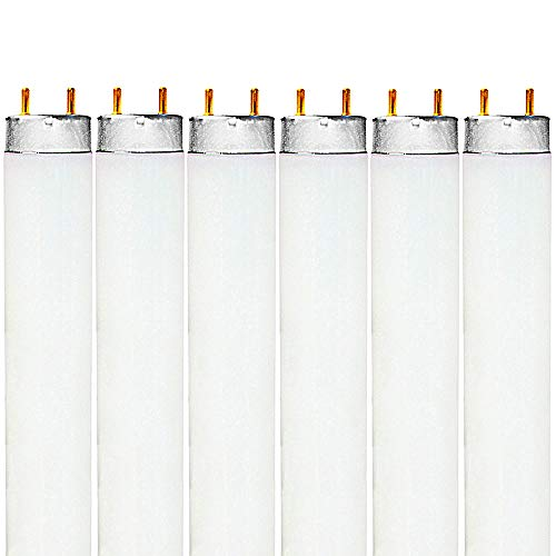 Luxrite F32T8/741 32W 48 Inch T8 Fluorescent Tube Light Bulb, 4100K Cool White, 2850 Lumens, G13 Medium Bi-Pin Base, LR20732, 6-Pack