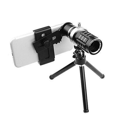 Price comparison product image Powstro Universal 12X Zoom Telescope Phone Camera Lens with Tripod Clip for iPhone Samsung HTC Mobile Phones -- Black Color