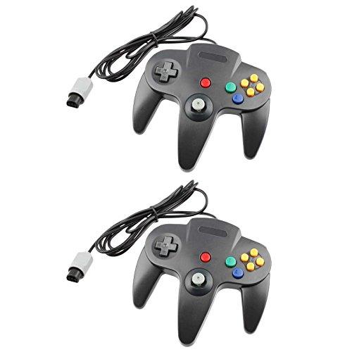TCK Game Controller for N64 Nintendo 64 (2-Pack, Black)