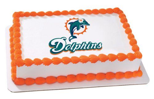NFL Miami Dolphins ~ Edible Cake Image Topper: Amazon.com: Grocery ...