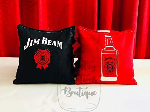 (Jim Beam Whiskey Cornhole Bags, 8 ACA Regulation Corn Hole, Bean Bags, Baggo Toss, Tailgate Game)