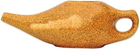 HealthGoodsIn - Porcelain Ceramic Neti Pot for Nasal Cleansing Crackle Pattern Orange | Natural Treatment for Sinus and Congestion| Neti Pot with 10 Sachets of Neti Salt + Instructions Leaflet