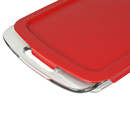 "Pyrex Red Plastic Lid for 9"" X 13"" 3-qt C-233-PC for Oblong Easy Grab Glass Baking Dish"