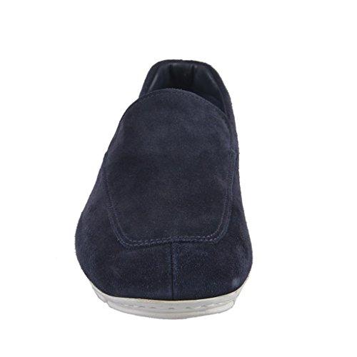 Prada Mens Blå Mocka Dagdrivare För Läder Skor Blå