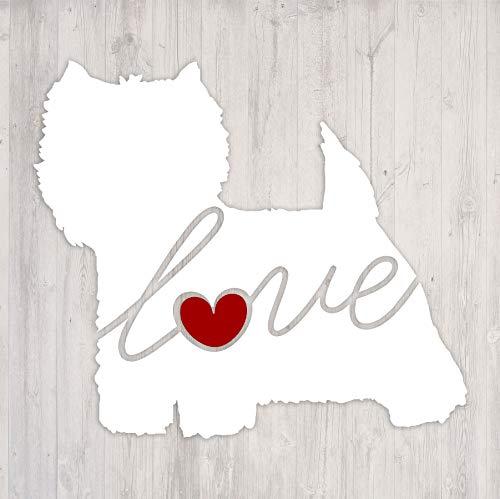West Highland Terrier (Westie) Love - Car Window Vinyl Decal Sticker (Script ()