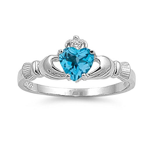 (925 Sterling Silver Faceted Natural Genuine Sky Blue Topaz Claddagh Heart Promise Ring Size 6)