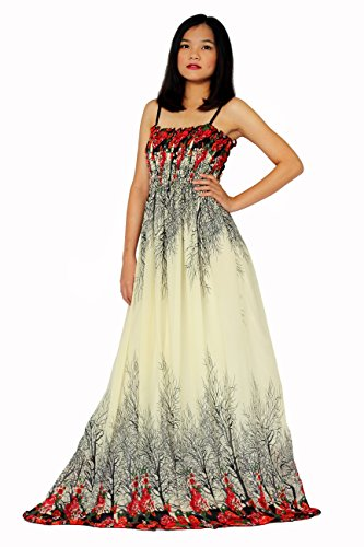 MayriDress Women Black Summer Dress Maxi Plus Size Graduation Chiffon Gift Long – Large, Cream