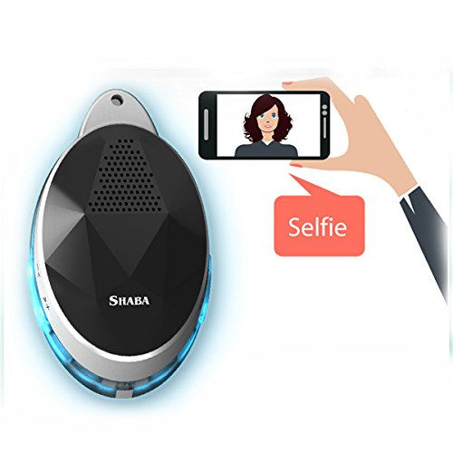 (Wearable Speaker with Neck Strap, SHABA Smart Bluetooth Speaker with Selfie Remote Control, LED Light Effect, Hand-Free (White))