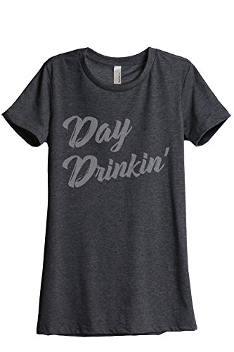 Thread Tank Day Drinkin Drinking Women's Fashion Relaxed T-Shirt Tee Charcoal Grey Large