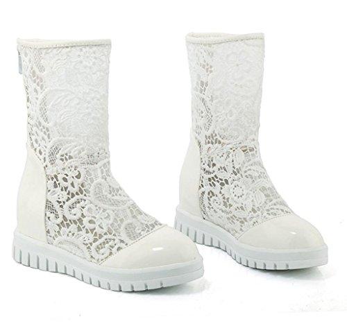 Delle Bianco Donne Camoscio Stivali Pelle Scarpe Tratto Pizzo Alto Scarpe Tacco In Finta Moda Signore Mnii UqZwxU5