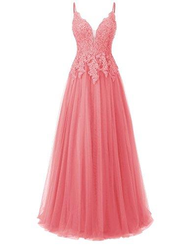 Spaghetti Koralle Träger Abendkleider Carnivalprom Elegant Für Spitze Damen Ballkleider Hochzeit Brautkleid qvPSxR04Sw