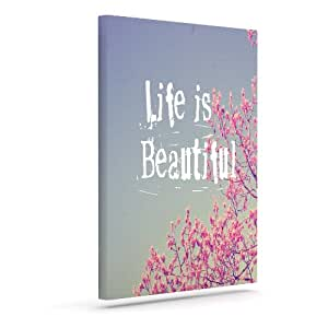 "Kess InHouse Rachel Burbee ""Life is Beautiful"" Outdoor Canvas Wall Art, 8 by 10-Inch"