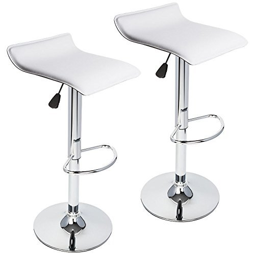 360 Degree Swivel Adjustable Bar Stool, Mordern Faux Leather Pub Chair, Set of 2, White