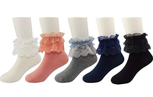 Honanda Girl's Cute Lace Ruffle Frilly Princess Style Bowknot Cotton Ankle Socks Dress Socks (Pattern 4) ()