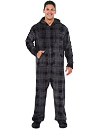 Mens Fleece Plaid or Print Onesie, Hooded Footed Jumpsuit...