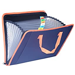 13 Pocket Expanding File Folder, Kredy Portable Letter Size Expandable Accordion File Document Folder Accordian Folder Organizer with Handle, Buckle Closure and Subject Labels, Dark Blue