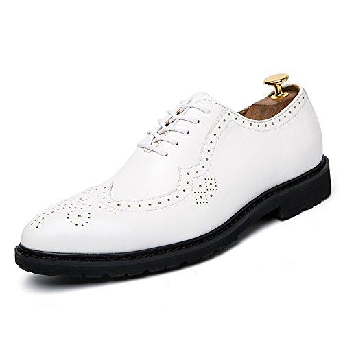 WZG los zapatos de los hombres de negocios de alta calidad, cuero señalaron los zapatos de los hombres Shibu Locke tallada zapatos planos de encaje White