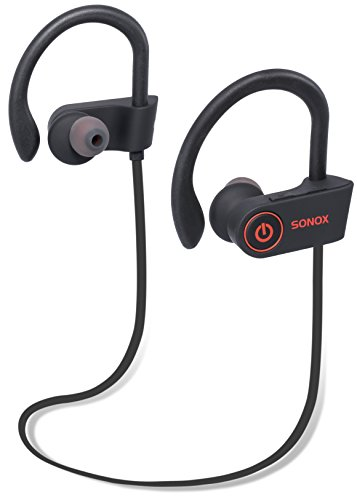 Wireless Bluetooth Headphones by SONOX – Rechargeable Stereo Sound Noise Canceling Headphones – Sports Non-Slip Fit & IPX7 Waterproof Design – Built-in Microphone – Long Playback