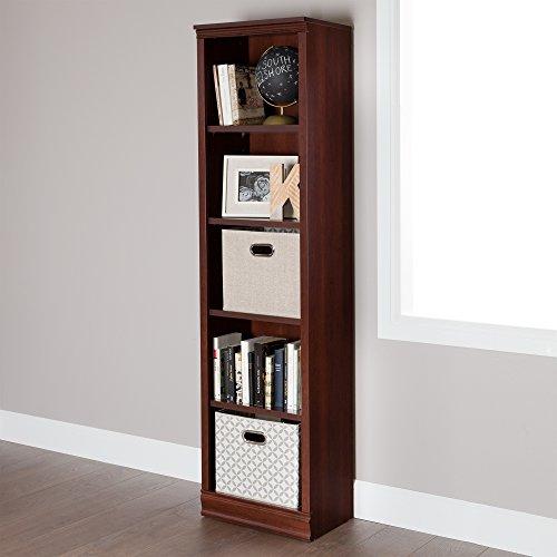 South Shore Morgan Narrow 5-Shelf Bookcase - Adjustable Shelves, Royal Cherry