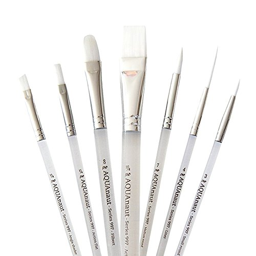 Soft Handle Brush (AQUAnaut Series 997 Expansion Set 7-Piece Paint Brushes Best for Watercolors, Acrylic and Oils, Short Bevel Handles …)