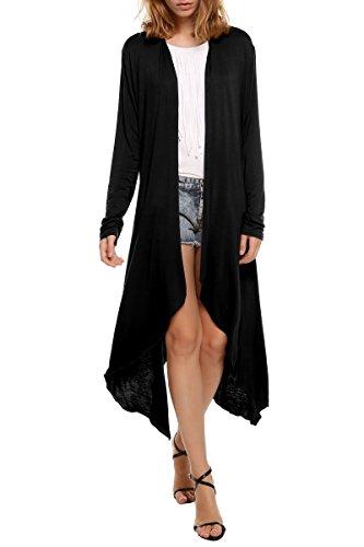 Beyove Womens Long Sleeve Asymmetric Hem Open Front Draped Cardigan Sweater
