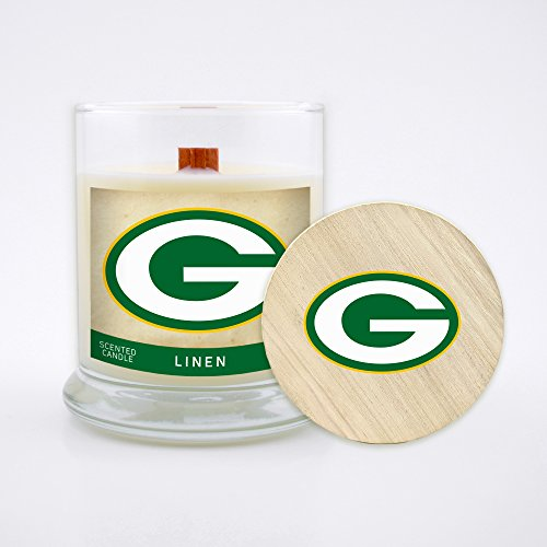 - Worthy Promo NFL Green Bay Packers Linen Scented Soy Wax Candle, Wood Wick and Lid, 8 oz