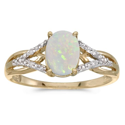 14k Yellow Gold Oval Opal And Diamond Ring (Size 7)
