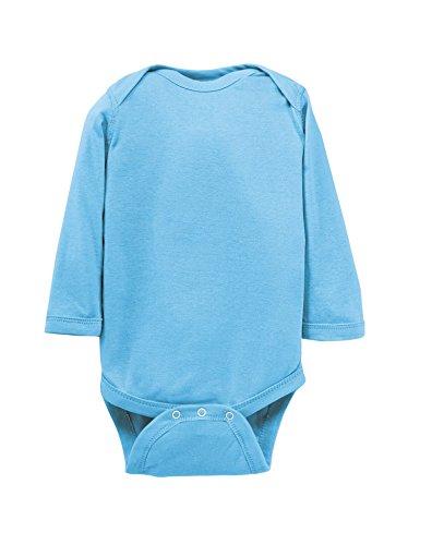 Rabbit Skins Infant Baby Rib Lap Shoulder Long Sleeve Bodysuit (Light Blue) (6)