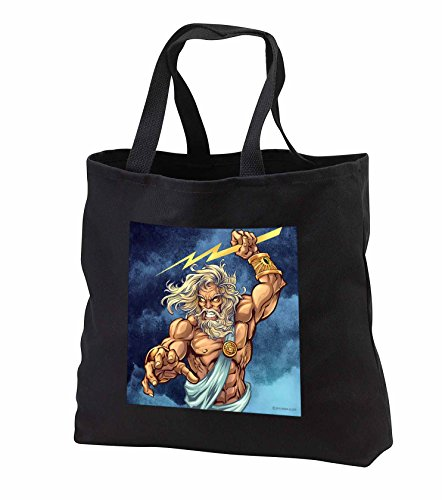 Light, Greek, Mythology, illustration - Zeus throwing a lightning bolt from a stormy sky - Tote Bags - Black Tote Bag 14w x 14h x 3d (tb_252471_1) - Bolt Zeus Womens