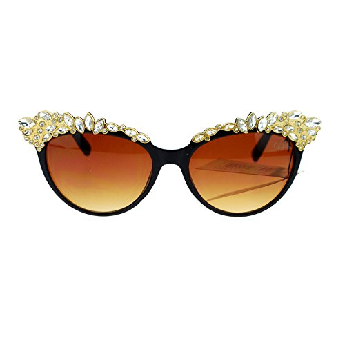 Womens Large Rhinestone Jewel Brow Lash Cat Eye Sunglasses Black Brown