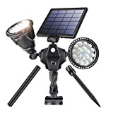 Outdoor Solar Spotlights, Newest 36 LED Double Head Security Light 5200 mAh Batteries Waterproof Wall Lamps with Motion Sensor for Garden Landscape Patio Porch Deck Garage (Cool White, 1 Pack) Review