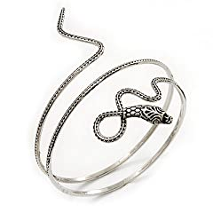 Antique Silver Textured Snake Armlet Bangle