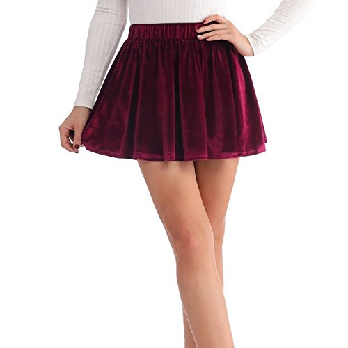 JOAUR Velvet Elastic Waist Casual Skirts Womens Basic Flared Skater Mini Skirt
