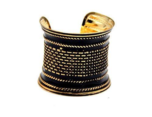 Basket Weave Effect Stunning Black and Gold Open Cuff Bracelet Bangle