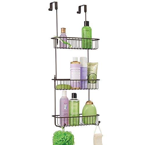 mDesign Extra Large Metal Over Shower Door Caddy, Hanging Bathroom Storage Organizer Center with Built-in Hooks and Baskets on 3 Levels for Shampoo, Body Wash, Loofahs - Bronze (Shower Caddy Bronze Over The Door)