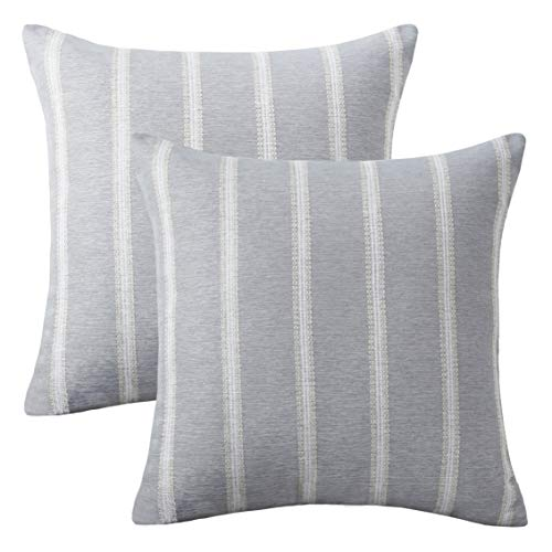 Home Brilliant 2 Packs Striped Euro Sham Pillow Cover Decorative Cushion Covers for Sofa Bed Room, 24 x 24 inches(60x60cm), Light Grey (Ikea Covers Outdoor Cushion)