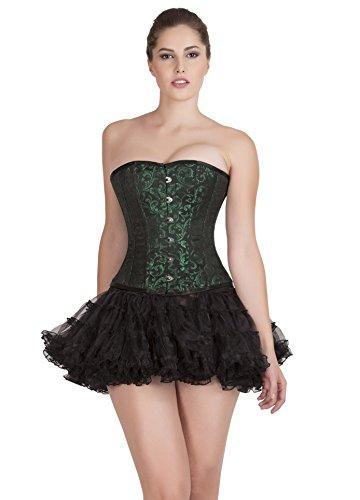 タイマー事件、出来事答えGreen Black Brocade Gothic Burlesque Costume Waist Training Overbust Corset Top