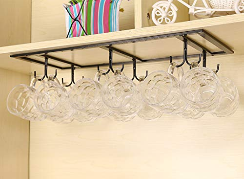 (HOUTBY 12 Hooks Retro Under Cabinet Mugs Coffee Cups Wine Glasses Storage Drying Rack Organizer for Kitchen Bar)